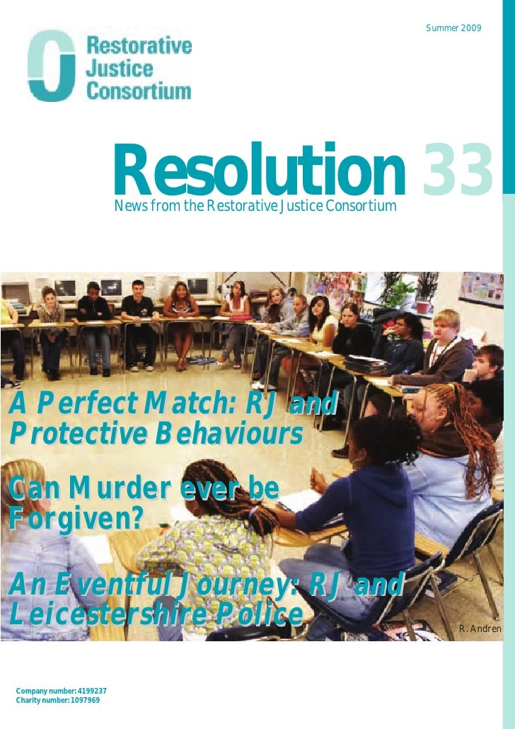 Summer 2009                               Resolution 33                           News from the Restorative Justice Consor...