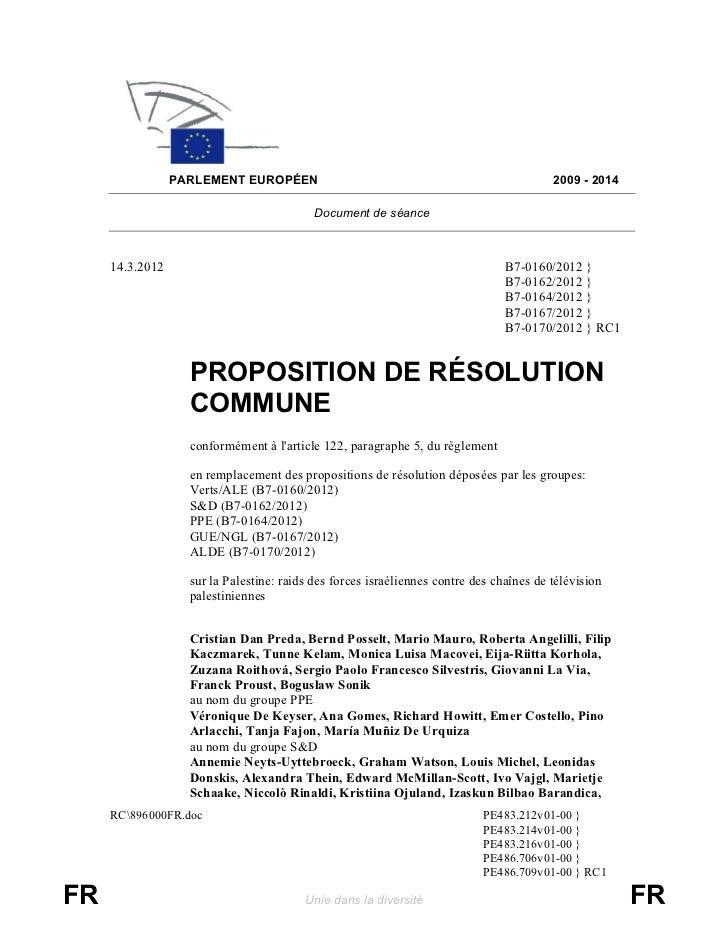 PARLEMENT EUROPÉEN                                                      2009 - 2014                                       ...