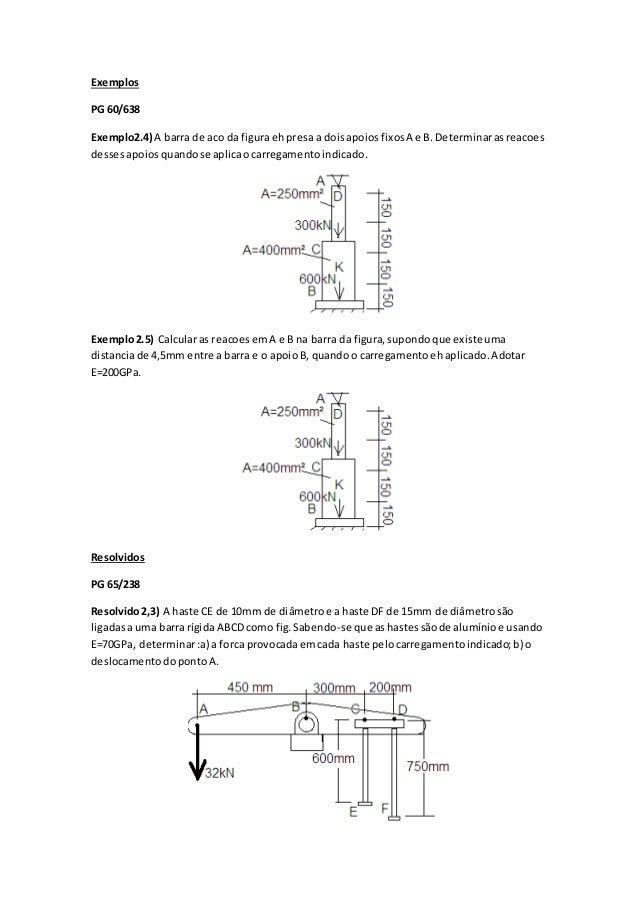 Exemplos  PG 60/638  Exemplo2.4) A barra de aco da figura eh presa a dois apoios fixos A e B. Determinar as reacoes  desse...