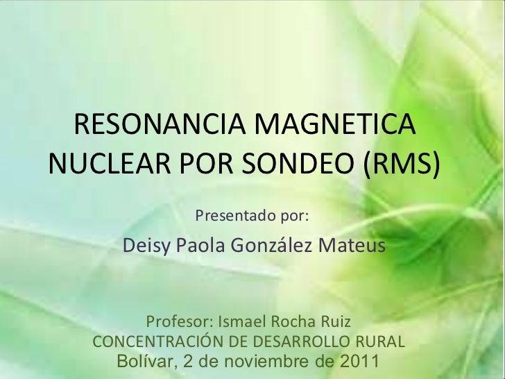 RESONANCIA MAGNETICA NUCLEAR POR SONDEO (RMS) Presentado por:  Deisy Paola González Mateus Profesor: Ismael Rocha Ruiz CON...
