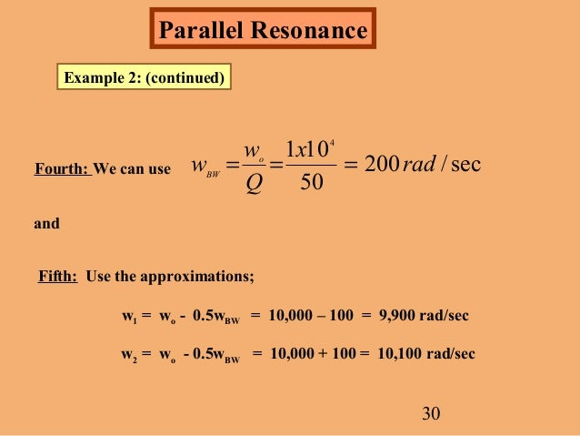 Calculations 1 Series Resonant Circuit Resonant Frequency F0