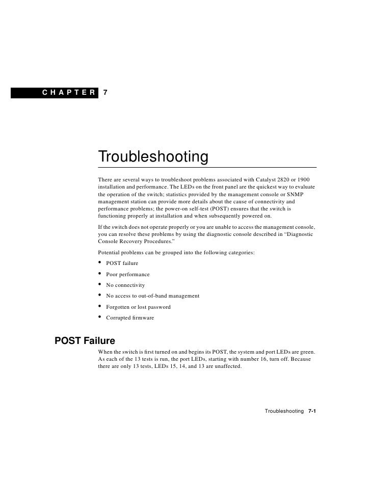 CHAPT E R       7                 Troubleshooting             There are several ways to troubleshoot problems associated w...