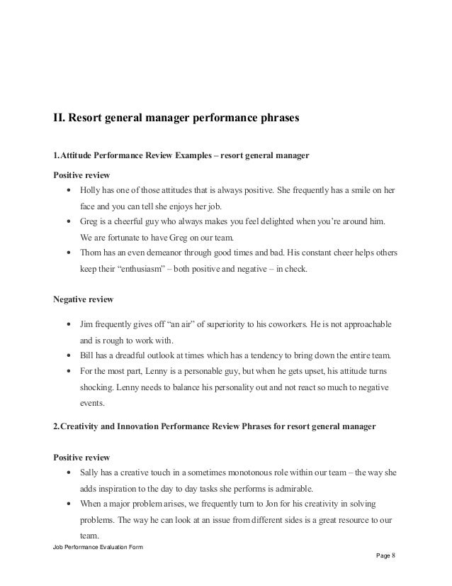 Resort general manager performance appraisal – Sample General Evaluation Template