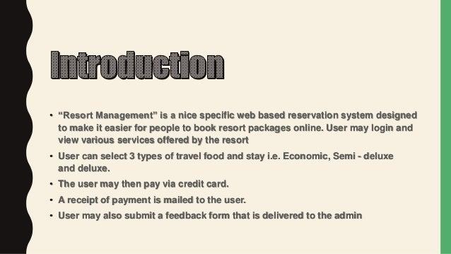Online Resort management system