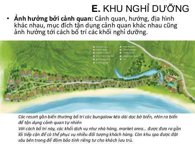 Những resort gần biển nhưng địa hình dốc, muốn tận dụng đặc điểm địa hình lại bố trí các dãy phòng nghỉ giật bậc nhìn ra b...
