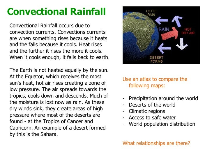 How does convectional rainfall occur?