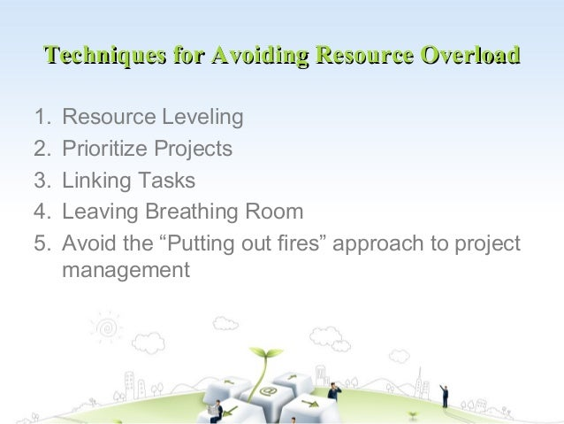 Techniques for Avoiding Resource Overload1.   Resource Leveling2.   Prioritize Projects3.   Linking Tasks4.   Leaving Brea...