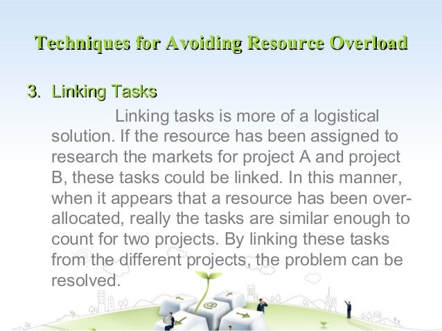 Techniques for Avoiding Resource Overload3. Linking Tasks            Linking tasks is more of a logistical   solution. If ...