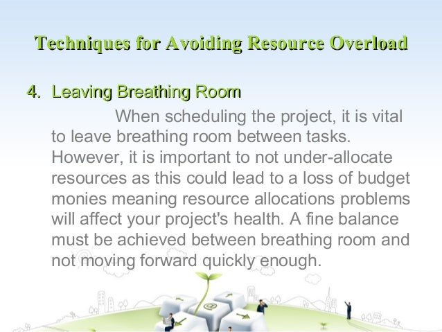 Techniques for Avoiding Resource Overload4. Leaving Breathing Room             When scheduling the project, it is vital   ...