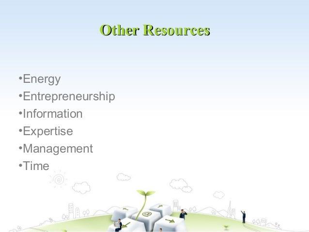 Other Resources•Energy•Entrepreneurship•Information•Expertise•Management•Time
