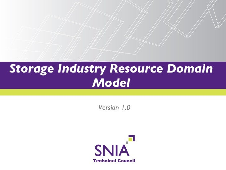 Storage Industry Resource Domain Model Version 1.0
