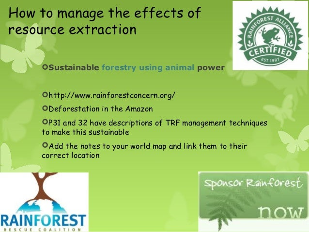 Resource extraction and rainforest management