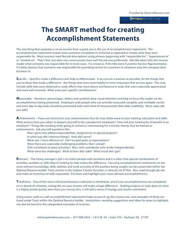 writing accomplishments on your resume