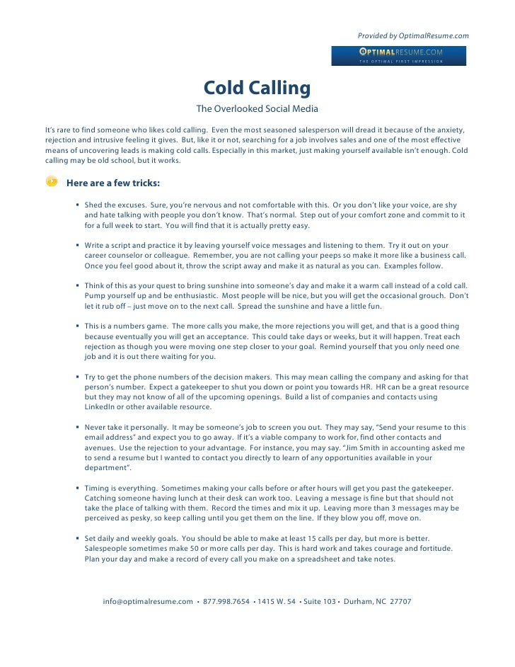 Provided By OptimalResume.com ...  Cold Calling Resume