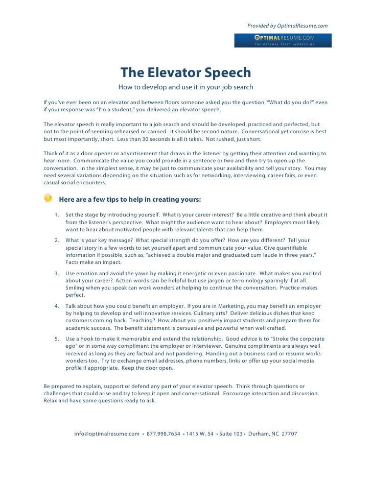 How to Write a Job Search Elevator Speech