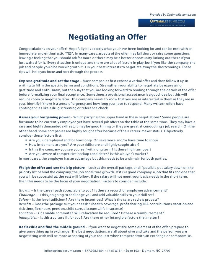 negotiating a job offer