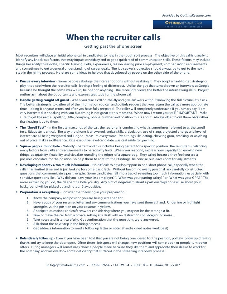 Provided by OptimalResume.com                                        When the recruiter calls                             ...