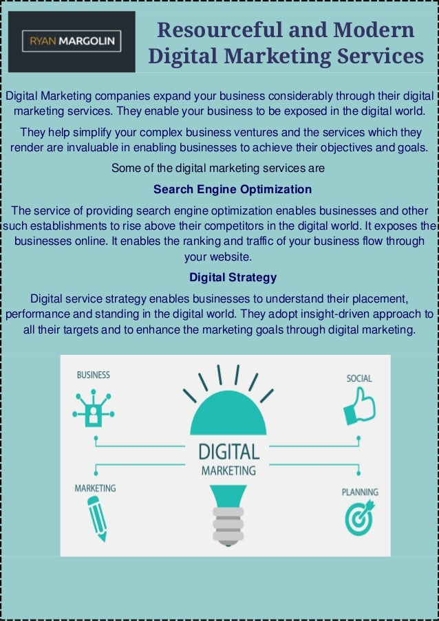 Resourceful and Modern Digital Marketing Services Digital Marketing companies expand your business considerably through th...