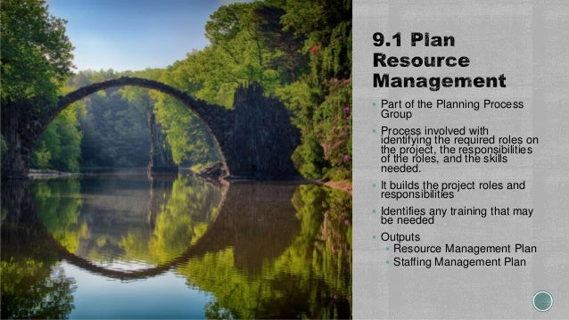  Part of the Planning Process Group  Process involved with identifying the required roles on the project, the responsibi...