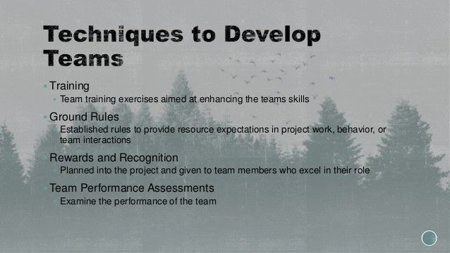  Training  Team training exercises aimed at enhancing the teams skills  Ground Rules  Established rules to provide res...