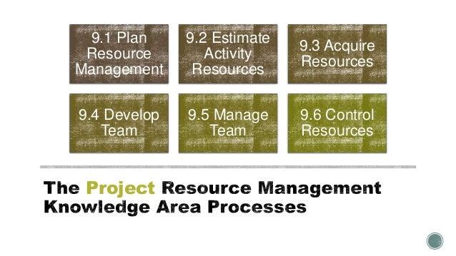 Project 9.1 Plan Resource Management 9.2 Estimate Activity Resources 9.3 Acquire Resources 9.4 Develop Team 9.5 Manage Tea...