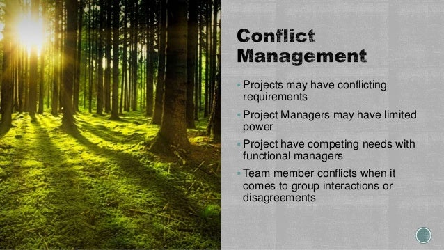  Projects may have conflicting requirements  Project Managers may have limited power  Project have competing needs with...