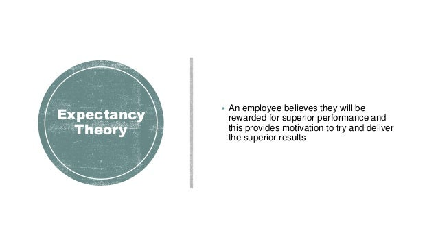 Expectancy Theory  An employee believes they will be rewarded for superior performance and this provides motivation to tr...