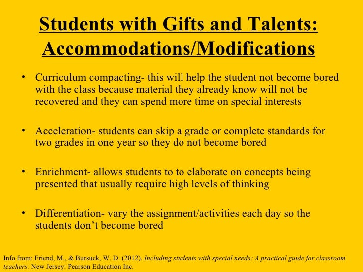 Students with Gifts and Talents: Accommodations/Modifications ...