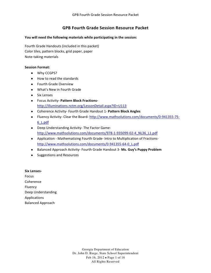 GPB Fourth Grade Session Resource Packet                        GPB Fourth Grade Session Resource PacketYou will need the ...