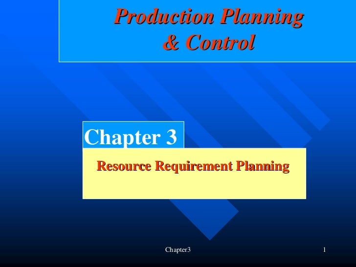 Production Planning       & ControlChapter 3 Resource Requirement Planning           Chapter3              1