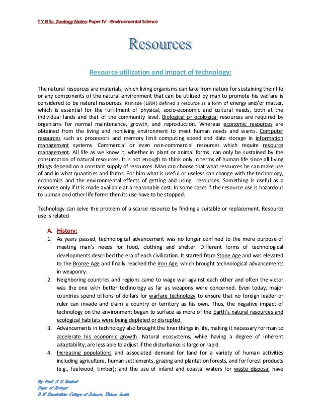 T Y B Sc. Zoology Notes: Paper IV –Environmental Science                          Resource utilization and impact of techn...