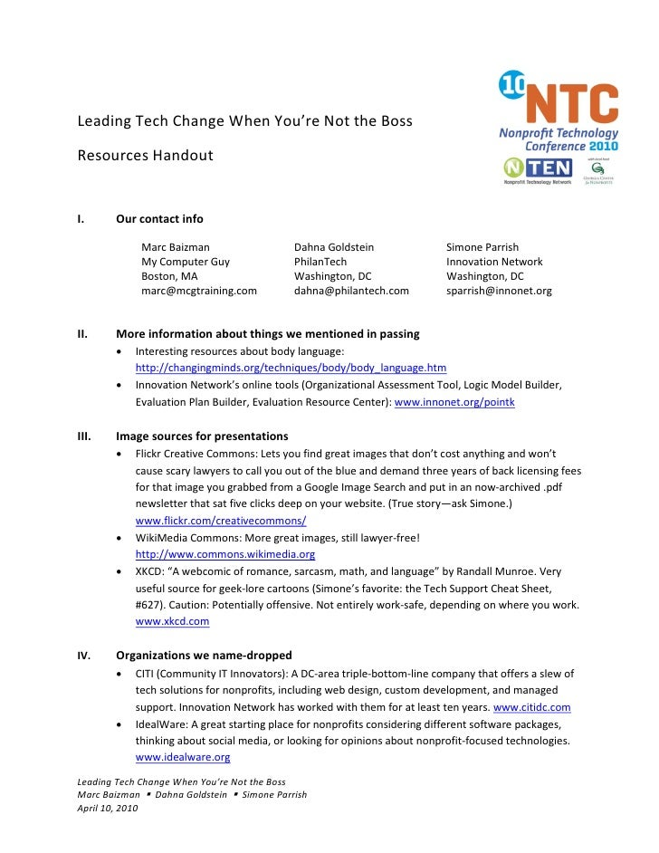 Leading Tech Change When You're Not the Boss  Resources Handout   I.     Our contact info               Marc Baizman      ...