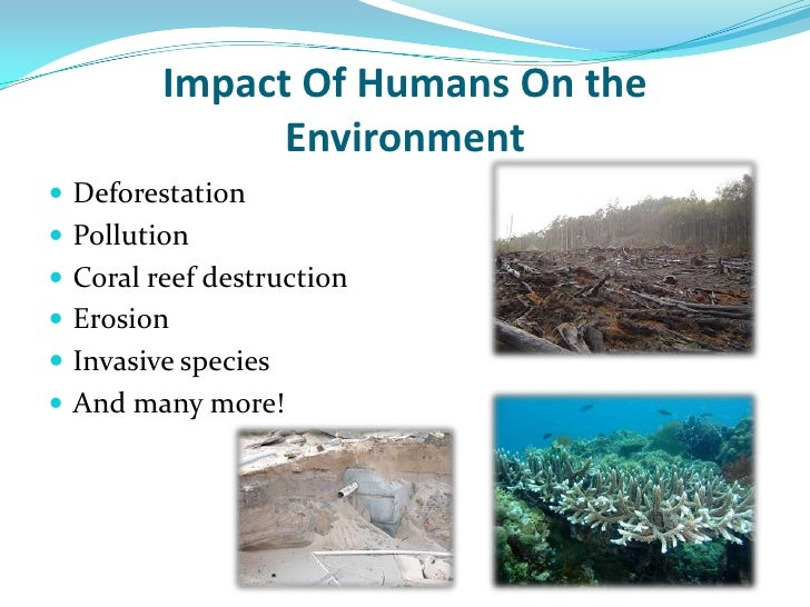 humans effects on the environment The world's oceans have suffered a lot at the hands of humans — ask any marine conservationist unsustainable fishing, pollution and the effects of climate change are just a few of the issues that worry scientists and environmentalists.