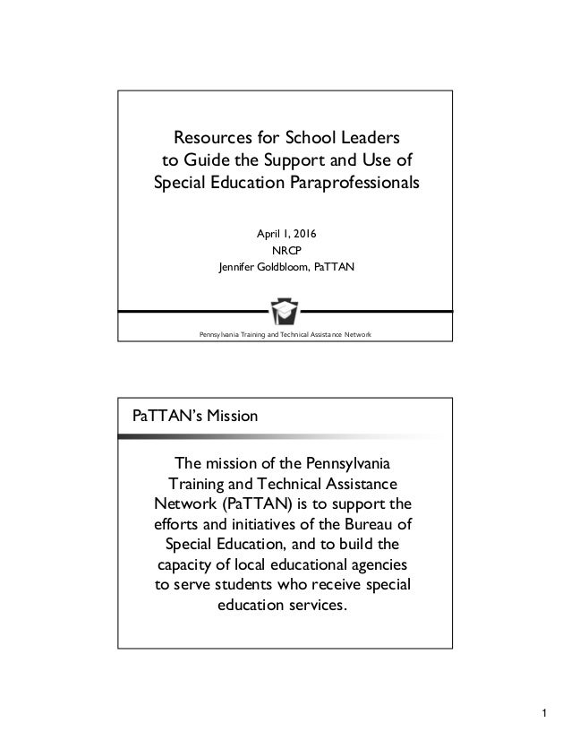 When Is Use Of Paraprofessionals >> Resources For School Leaders To Guide The Support And Use Of Special