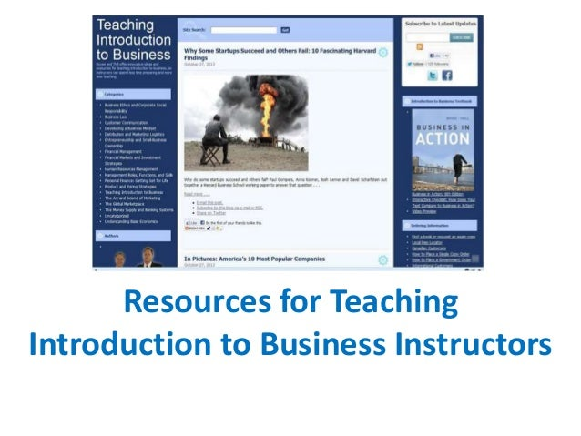 Resources for Teaching Introduction to Business Instructors