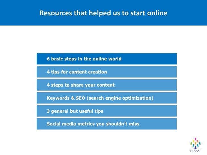 Resources that helped us to start online  6 basic steps in the online world  4 tips for content creation  4 steps to share...