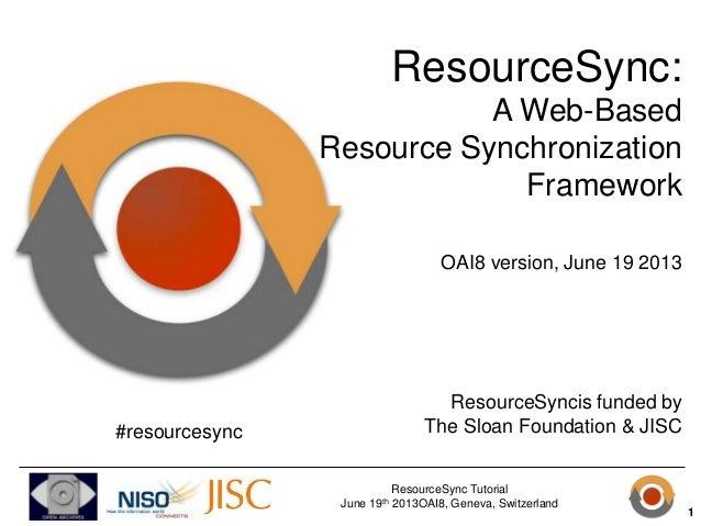 ResourceSync Tutorial June 19th 2013OAI8, Geneva, Switzerland ResourceSync: A Web-Based Resource Synchronization Framework...