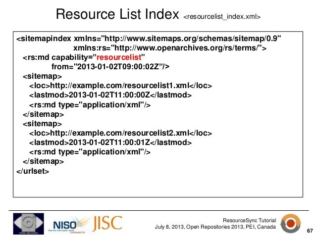 resourcesync tutorial from open repositories 2013