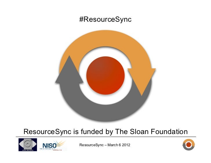 #ResourceSyncResourceSync is funded by The Sloan Foundation               ResourceSync – March 6 2012