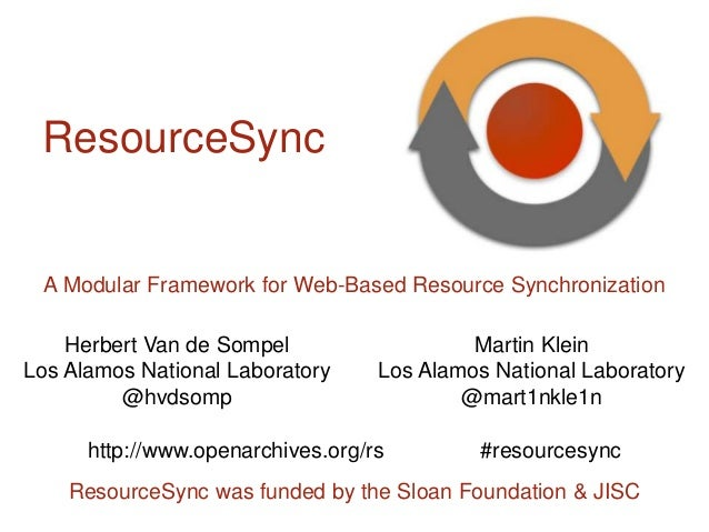 ResourceSync was funded by the Sloan Foundation & JISC A Modular Framework for Web-Based Resource Synchronization Martin K...
