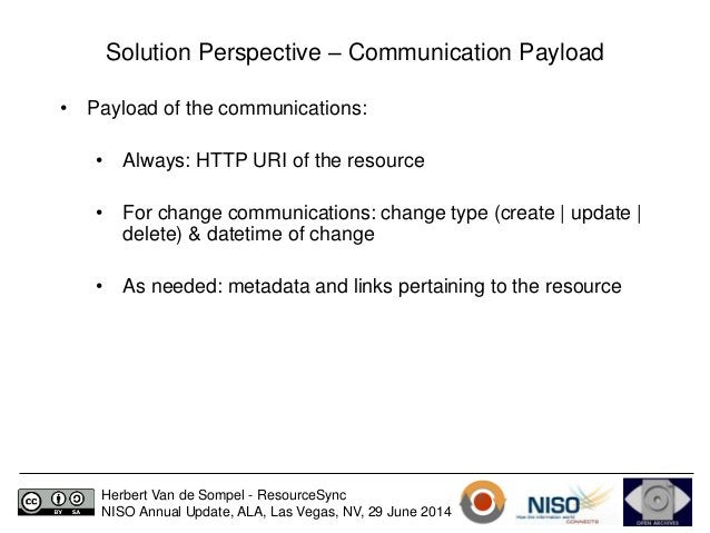 Solution Perspective – Communication Payload  • Payload of the communications:  • Always: HTTP URI of the resource  • For ...