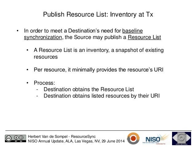 Publish Resource List: Inventory at Tx  • In order to meet a Destination's need for baseline  synchronization, the Source ...