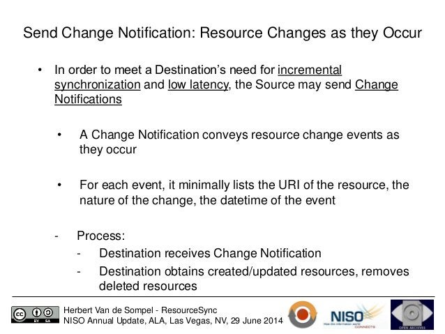 Send Change Notification: Resource Changes as they Occur  • In order to meet a Destination's need for incremental  synchro...