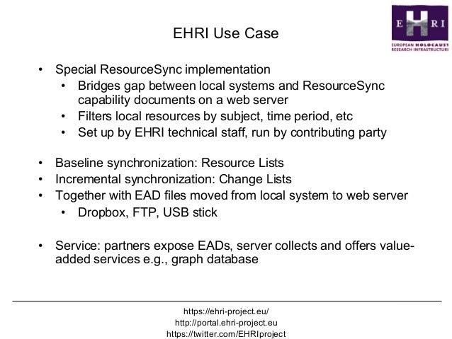 ResourceSync - @mart1nkle1n DPLAfest, Chicago, April 20 2017 EHRI Use Case • Special ResourceSync implementation • Bridg...