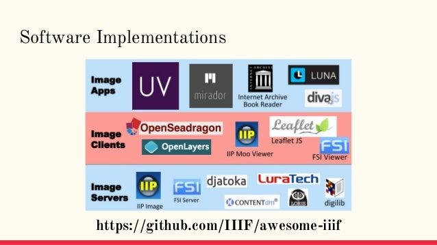Software Implementations https://github.com/IIIF/awesome-iiif