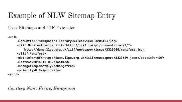 """Uses Sitemaps and IIIF Extension <url> <loc>http://newspapers.library.wales/view/3320640</loc> <iiif:Manifest xmlns:iiif=""""..."""
