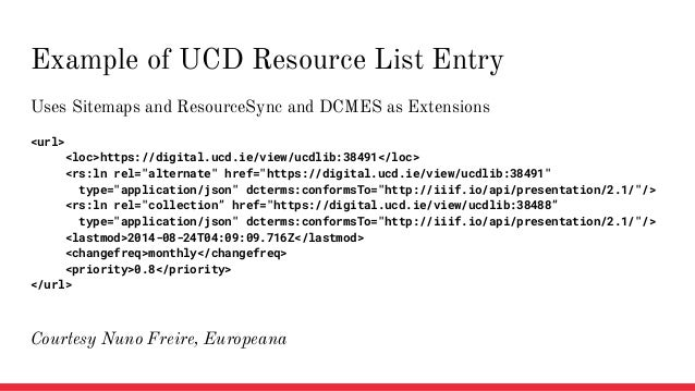 Uses Sitemaps and ResourceSync and DCMES as Extensions <url> <loc>https://digital.ucd.ie/view/ucdlib:38491</loc> <rs:ln re...