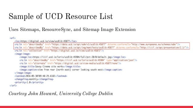 Uses Sitemaps, ResourceSync, and Sitemap Image Extension Sample of UCD Resource List Courtesy John Howard, University Coll...