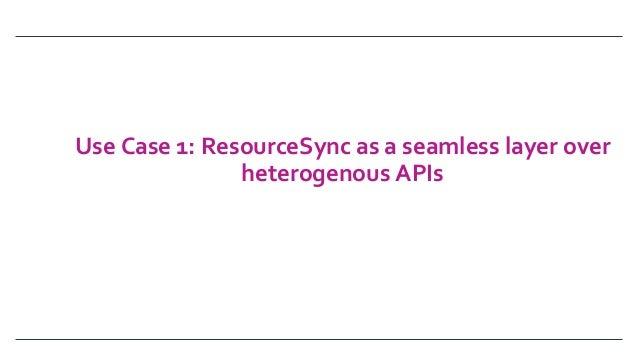 UseCase1:ResourceSyncasaseamlesslayerover heterogenousAPIs