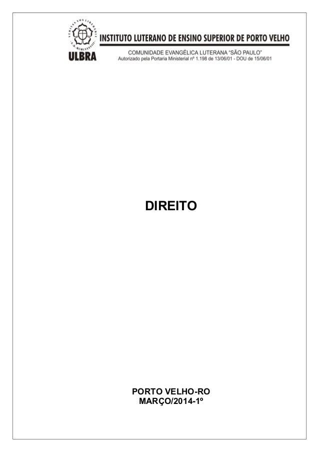 DIREITO  PORTO VELHO-RO  MARÇO/2014-1º